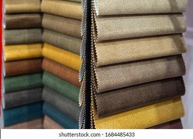 Upholstery fabric samples. Fabric for a furniture upholstery. Textile industry