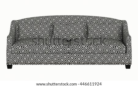 Upholstery Sofa Grey Pattern Fabric Isolated On White Background
