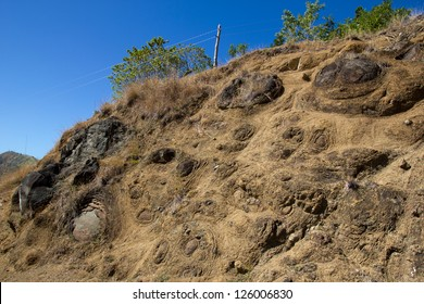 Uplifted pillow lava's outcropping near a road-section (Sierra Madre, Cuba). Pillow basalt forms due to the extrusion of lava under water resulting in characteristic pillow-shaped structures