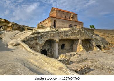 Uplistsikhe, Shida Kartli Region, Georgia.  Uplistsuli Church or Church Of Prince. Ancient Rock-hewn Town In Eastern Georgia. UNESCO World Heritage Site.