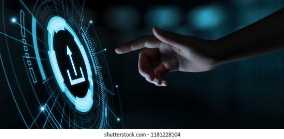 Upload Data Storage Business Technology Network Internet Concept.
