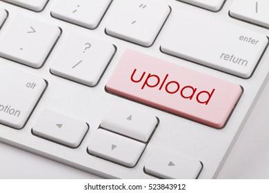 Upload word written on computer keyboard.
