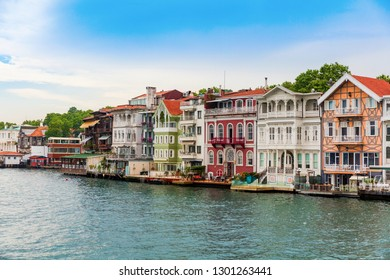 Upmarket waterfront homes along the Bosphorus river in Istanbul, Turkey