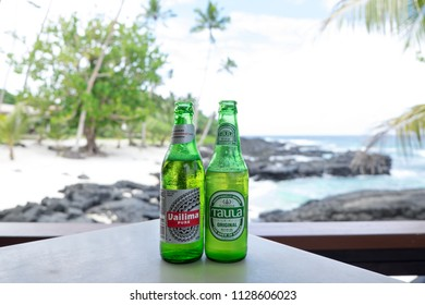 Upolu Island, Samoa - October 28, 2017: Vailima and Taula are two beer brands brewed in Western Samoa.