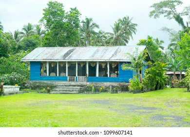 Upolu Island, Samoa - October 30, 2017: Typical Samoan home, where house has open sides and garden area