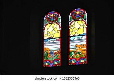 Upolu, Samoa_11 Oct 2019: Beautiful stained glass in a Samoa Catholic church.