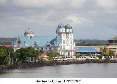 Upolu/Samoa_11 oct 2019: Exterior of Immaculate Conception of Mary Cathedral, Apia during sunny day.