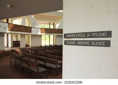 Upolu/Samoa_19 Oct 2019: interior of Baha'i House of Worship, Tiapapata, Samoa, Apia. The observe silence sign in the church.