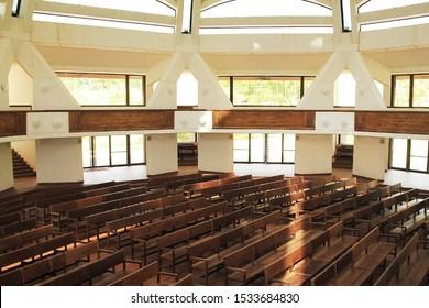 Upolu/Samoa_19 Oct 2019: interior of Baha'i House of Worship, Tiapapata, Samoa, Apia