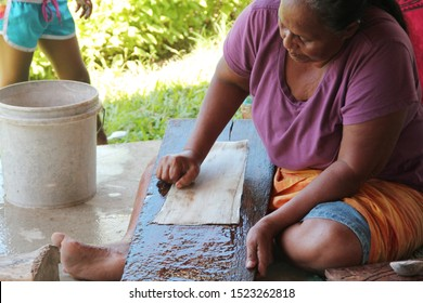 Upolu/Samoa_19 Sep 2019: A Samoan woman cleans the inner bark with a shell scraper, using a sloping board for support when making the bark cloth.