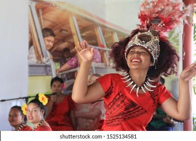 Upoui/ Samoa_18 Sep 2019: Beautiful samoan lady dancing their traditional dance.