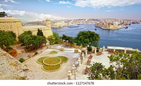 Upper Barakka Gardens overlooking  the Grand Harbor of Valletta, Malta
