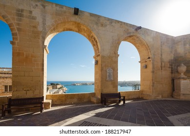 Upper Barracca Gardens terrace overlooking the Grand Harbour, Valletta, Malta