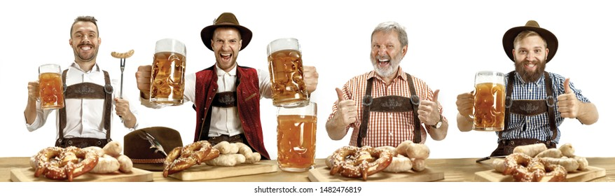 Upper Bavaria. Collage of happy men with beer and meat dressed in traditional Austrian or Bavarian costumes at pub or studio. The celebration, oktoberfest, festival, drinks, holidays concept.