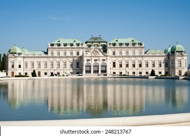 The Upper Belvedere Palace, Vienna, reflected in the pool.