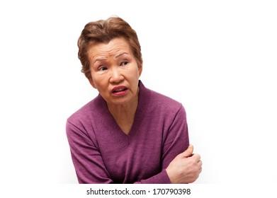 Upper body of an elderly woman