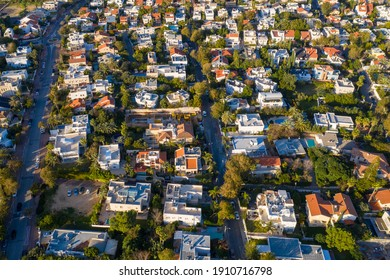 Upper class Suburban neighbourhood houses with Swimming pools, Aerial view.