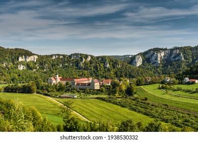 Upper Danube Valley with Beuron Monastery, Benedictine Archabbey, Swabian Alb, Sigmaringen district, Baden-Wuerttemberg, Germany