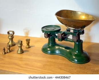 UPPER DICKER, EAST SUSSEX/ UK - JUNE 26: Interior View of Old Kitchen Scales at Michelham Priory in Upper Dicker, East Sussex UK on June 26, 2016