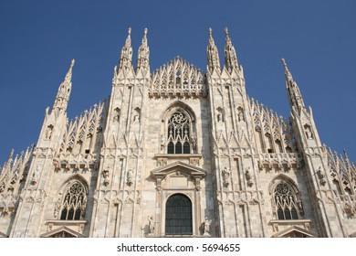 upper front facade of Duomo Milan Italy