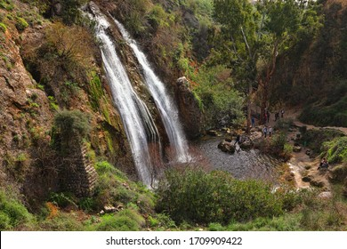 "UPPER GALILEE, National park  ""The Oven"". ISRAEL -  February 02, 2018 : Ayun Stream Nature Reserve. Mill waterfall, height 21 meters.  This location is very popular for tourists and locals"