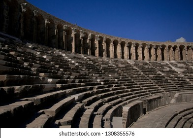 Upper Gallery arches and curved seating at Aspendos Amphitheatre Turkey
