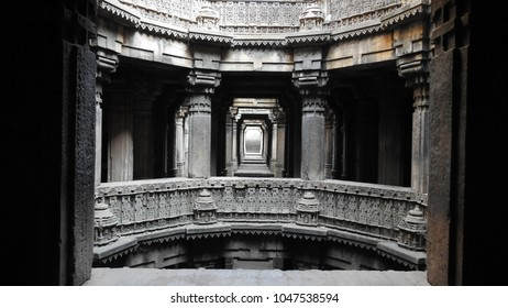 Upper gallery - Dada Harir Stepwell in Asarwa area of Ahmedabad, Gujarat State, India.
