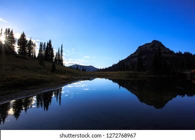 Upper Lake Tipsoo At Sunset