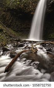 Upper Latourell Falls in the Columbia River Gorge in Oregon showing the river slowing from the lower half of the falls.
