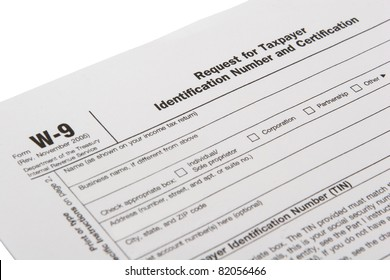 Upper left hand view of USA IRS W-9 independent contractor tax form, blank