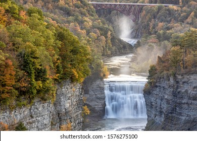 Upper and Middle Falls on the Genesse RIver at dusk from Inspriation Point in Letchworth State Park, New York.