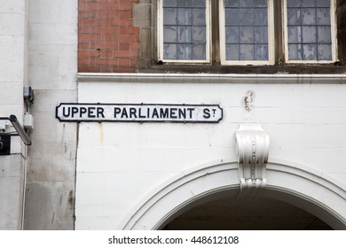 Upper Parliament Street Sign, Nottingham; England; UK