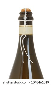 Upper part of a closed bottle of wine isolated on a white background