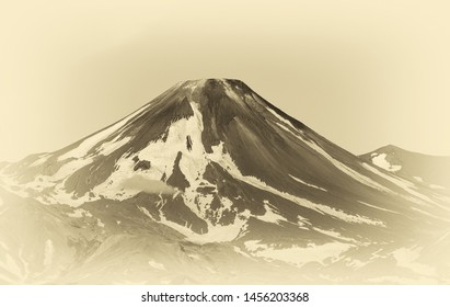 The upper part of the cone of the volcano Avachinsky - Siberia, Kamchatka, Russia (stylized retro)