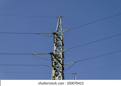 Upper part of electric power transmission line, Razgrad, Bulgaria