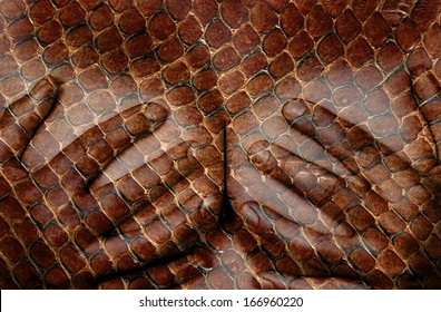 Upper part of female body, hands covering breasts, snake