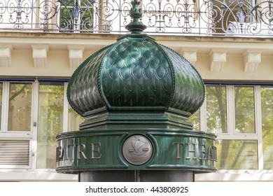 Upper part of morris or advertising column in Paris, France