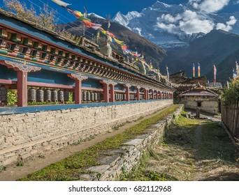 Upper Pisang village, Around Annapurna trek, Manang district, Gandaki zone, Nepal Himalayas, Nepal
