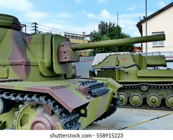 "Upper Pyshma, Russia - July 02, 2016: 76-mm self-propelled gun SU-76i arr. 1943 - exhibit of the Museum of military equipment ""Battle Glory of the Urals""."