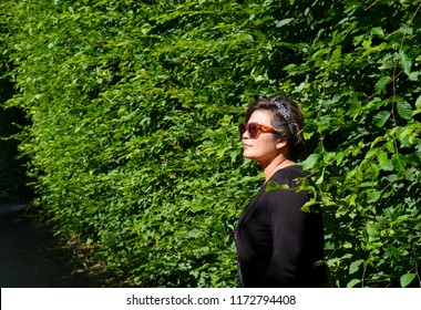 Upper section and side view portrait of an Asian woman wearing sunglasses leaning on trees wall on a sunny day.