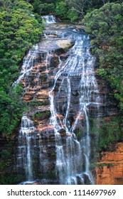The upper sections of Wentworth Falls in the Blue Mountains National Park, Australia