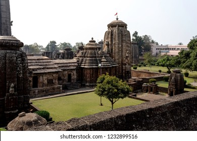 Upper side view of Lingaraja Temple, the largest temple of Bhubaneswar, Odisha, India