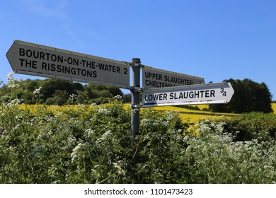 Upper Slaughter, Gloucestershire, England, UK.  14 May 2018. A finger sign post pointing to various Cotswold villages.