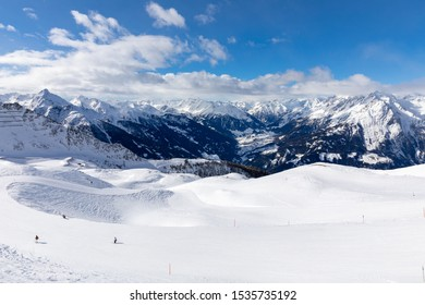 The upper slopes of the Kals-Matrei skiing resort in the Austrian Alps with a spectacular view of Virgental valley and the souther part of the Venediger mountain range.