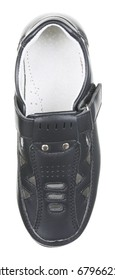 Upper view of black leather male summer boot (low shoe) with slots, slits and velcro clasp, isolated on white (FOCUS ON INSOLE)