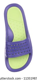 Upper view of blue and green rubber male beach slipper (sneaker) with perforation, isolated on white (FOCUS ON INSOLE)