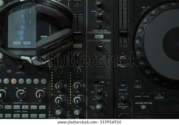 Upper View Closeup Dj Musical Mixer Stock Photo (Edit Now