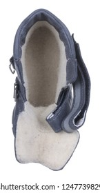 Upper view of dark blue and gray leather water resistant winter insulated male high boot with velcro clasps and artificial fur insulation, isolated on white (FOCUS ON INSOLE)