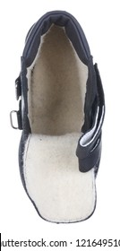Upper view of dark blue leather water resistant winter male high boot with velcro clasps and white artificial fur insulation, isolated on white (FOCUS ON INSOLE)
