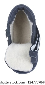 Upper view of dark blue suede water resistant winter insulated male high boot with velcro clasps and artificial fur insulation, isolated on white (FOCUS ON INSOLE)